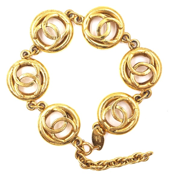 Chanel Jewelry - Gold Cc Medallion Charm Links Cuff Bracelet